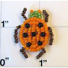 "Ladybug Beetle with Orange and Bronze Beads 1"" x 1"""