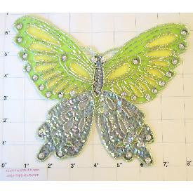"Butterfly Lime Green and Silver Sequin 8"" x 8"""