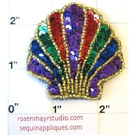 "Sea Shell with Multi-Colored Sequins and Beads 2"" x 2"""