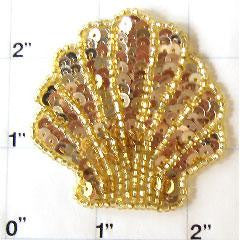 Seashell with Gold Sequins and Beads 2.25""