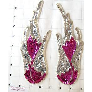 "Flame Pair Dark Fucsia and Silver 8"" x 3"""