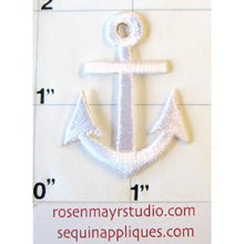 "Load image into Gallery viewer, Anchor White Embroidered Iron-On 1.5"" x 1"" - Sequinappliques.com"