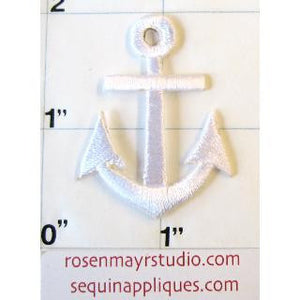 "Anchor White Embroidered Iron-On 1.5"" x 1"" - Sequinappliques.com"