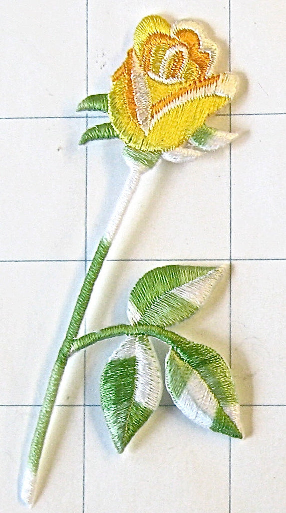 "Flower Yellow Rose Embroidered Iron-On 3.5"" x 1.5"""