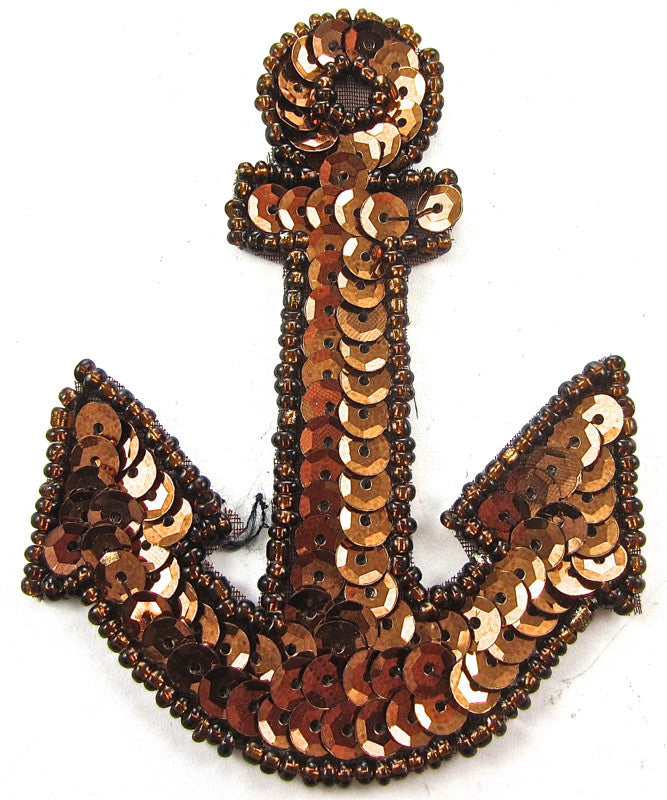 "Anchor Bronze Sequins and Beads 5"" x 3.5"" - Sequinappliques.com"