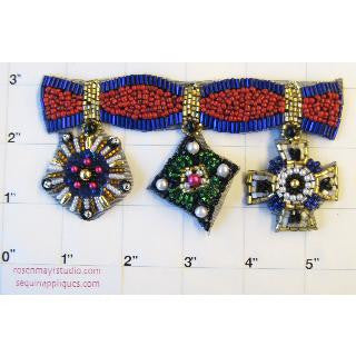 "Designer Motif Trim with Three Crests Multi-Colored. Can be Cut 2.5"" x 5"""