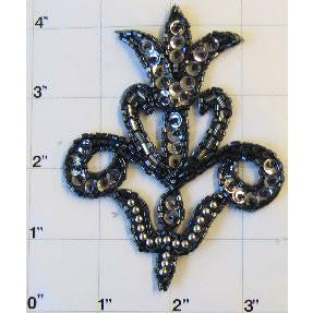 "Designer Motif with Grey and Silver Beads 4"" x 3"""