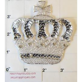 "Crown with Silver Sequins and Rhinestones 3"" x 3"""