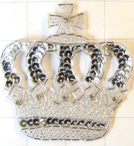 "Crown with 6 Rhinestones Silver Beads 2"" x 2.50"""