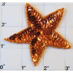 Star with Orange Sequins 3""