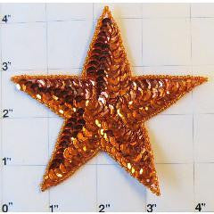 Star with Orange Sequins 4""