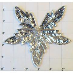 "Leaf with Silver Sequins and Beads 5"" x 5.5"""
