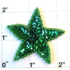 Star with Dark Green Sequins 2""