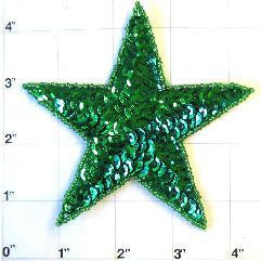 "Star Green Sequins and Beads in 3 variants: 2.5"", 3"", 4"""