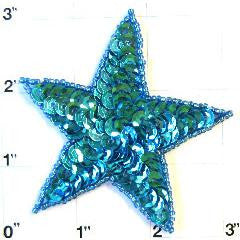 Star with Turquoise Sequins 2.75""