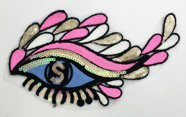 "Eye with Multi-Colored Sequins and Embroidered Yarn on Thin Mesh Backing 10"" x 6"""