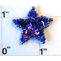 Star with Purple Sequins 1""