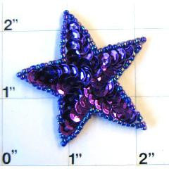 Star with Purple Sequins and Beads  2""