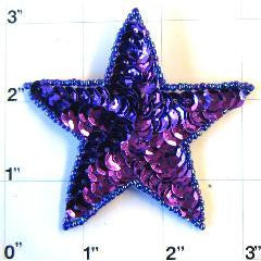 Star with Purple Sequins and Beads 3""