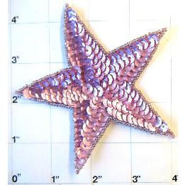 Star with Mauve Sequins 4""