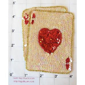 "Card Suit Blackjack Ace Jack with Beige and Red Sequins  4.5"" x 3.5"""