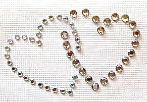 "Heart Double Crystal AB Rhinestones Transfer 1.5"" x 2"""