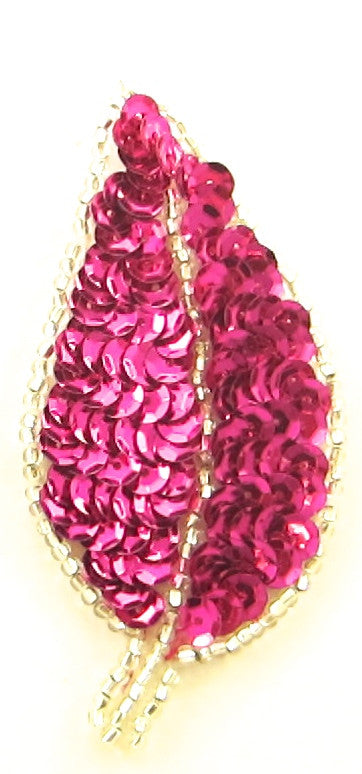 "Leaf Pair with Fuchsia Sequins Silver Beads 3.5"" x 2"""