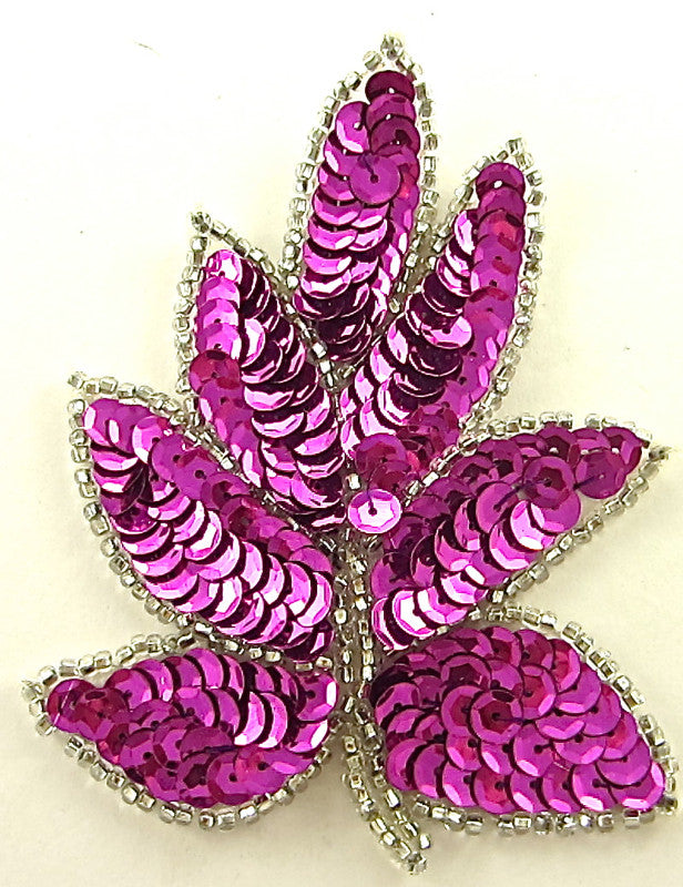 "Leaf with Fuchsia Sequins Silver Beads 4"" x 3"""