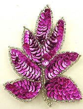 "Load image into Gallery viewer, Leaf with Fuchsia Sequins Silver Beads 4"" x 3"""