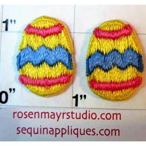 "Egg Pair Embroidered Iron-On 1"" x 3/4"""