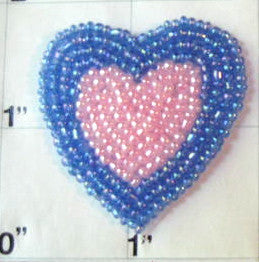 "Heart Pink and Light Blue  Beaded 1.5"" X 1.5"""