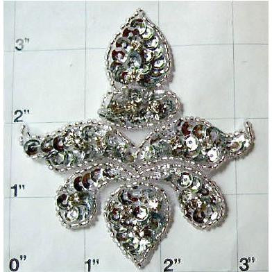 "Fleur De Lis with Silver Sequins and Beads and Rhinestones 3.5"" x 3.5"""