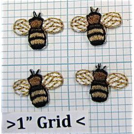 Bee, Light Brown, Set of 4 Embroidered Iron-On  1/2