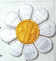 "Flower Daisy 3"" White and Gold Iron-On 3"""