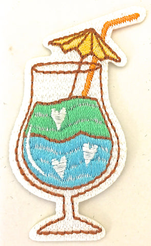 "Cocktail Tropical Drink Iron-on with multi-colored Embroidery  2.5""x 2.25"""
