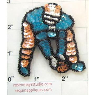 "Football Player with Turquoise Shirt 3"" x 3"""