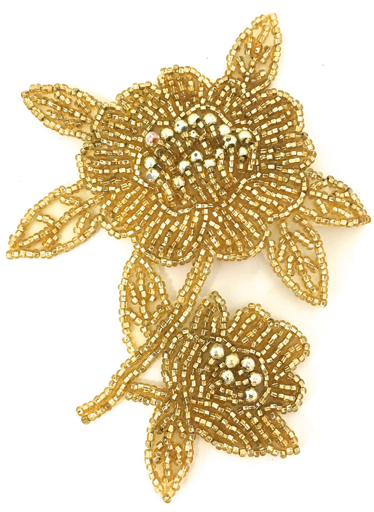"Flower with Gold beads  3.5"" x 5"""