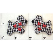 "Load image into Gallery viewer, Dog Scottie Checkered Plaid Embroidered iron-on  1.5"" x 1.25"