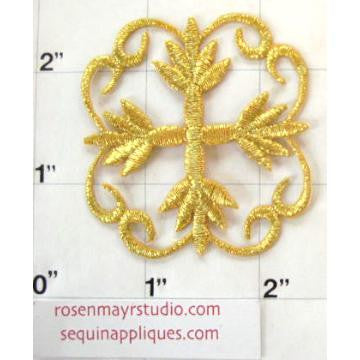 Designer Flower Motif,  Gold Metallic Embroidered Iron-on 2' x 2""