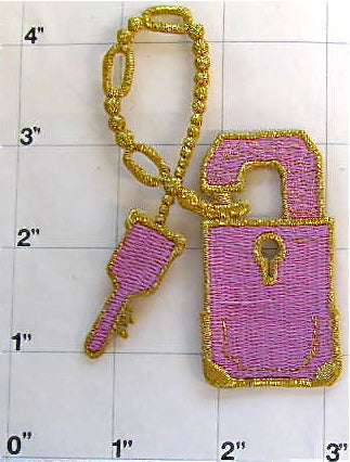Lock and Key with Gold Metallic and Pink Embroidery Iron-On