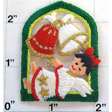 "Load image into Gallery viewer, Angel for Christmas with Xmas Bells Iron-on Embroidered 2"" x 2"" - Sequinappliques.com"