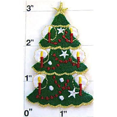 "Christmas Tree with Ornaments Iron On, 3"" x 2"""