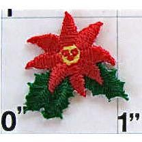 "Poinsettia Embroidered Iron On, 1"" x 1"""