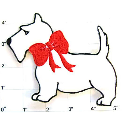 "Scottie Dog White with Red Bow Embroidered Iron-on  4.5"" x 4"""