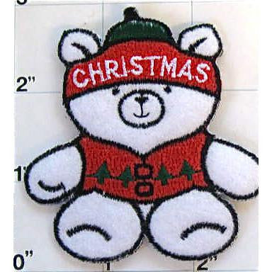 "Teddy Bear Christmas Letter On Its head Embroidered Iron On, 2.5"" x 3"""