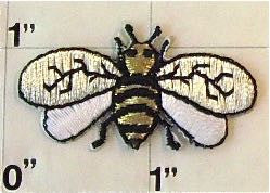 "Bee, Embroidered Iron-On 1.5"" x 1.75"""