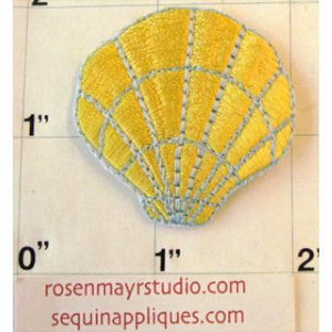 Sea Shell, Gold Embroidered Iron-On  2.75""
