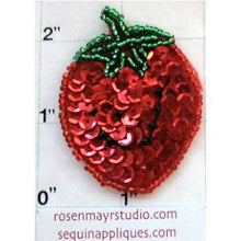 "Load image into Gallery viewer, Strawberry with Red Green Black Sequins and Beads 2"" x 1.5"""