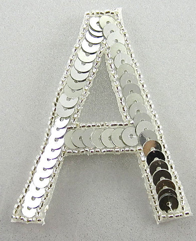 Letter A Silver Sequins and Beads 3""