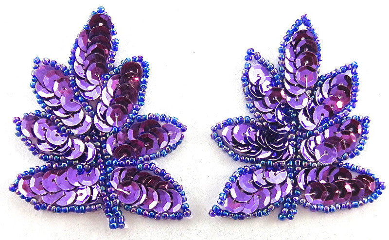 "Leaf Pair with Purple Sequins and Moonlight Beads 2.5"" x 2"""